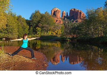 yoga, en, roca de la catedral