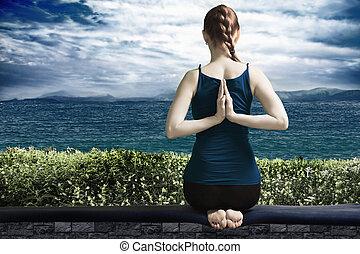yoga, en, terraza
