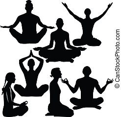 Yoga - illustration of yoga people