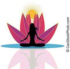 yoga, et, lotus fleur, logo