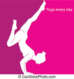 Yoga every day - girl in asana - a yoga pose on hands