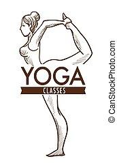 Yoga exercise practice, monochrome sketch outline vector.