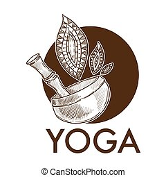 Yoga exercise practice, pot with leaves monochrome sketch outline