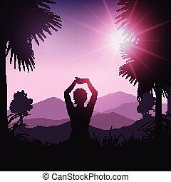 yoga female in tropical landscape tropical landscape 2701