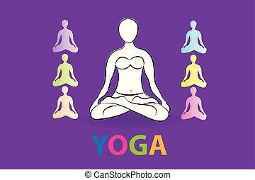 yoga, femme, ensemble, logo