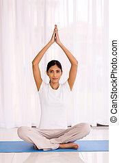 yoga, femme méditer, indien