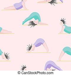 yoga., femme, yoga, filles, seamless, modèle, pose