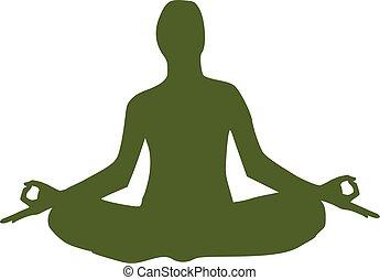 yoga, figur, siddende