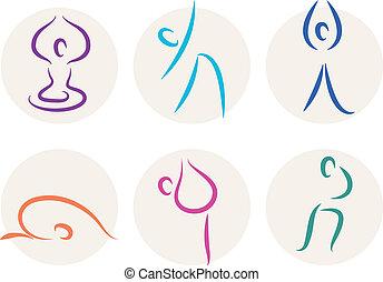 yoga, figura, icone, isolato, simboli, bastone, bianco, o