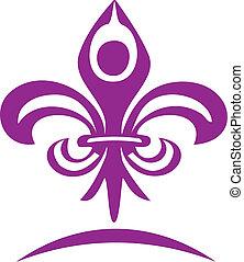 Yoga figure and flour lis logo