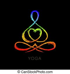 yoga, figuur, lotus maniertje, verwant, vector, grafiek, lijn