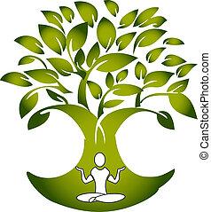 yoga, figuur, met, boompje, logo, vector