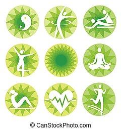 Yoga fitness icons, green circles.