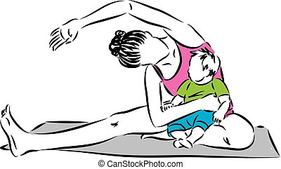 YOGA FITNESS WOMAN WITH BABY ILLUSTRATION.eps