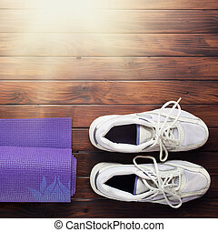 Yoga flat lay background