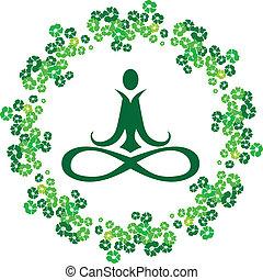 yoga, fleurs, icône
