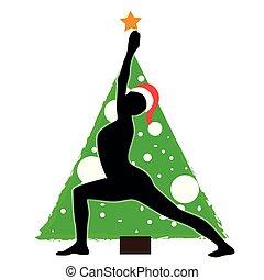 yoga, fondo, claus, albero, asana, santa, anno, nuovo, cappello, natale