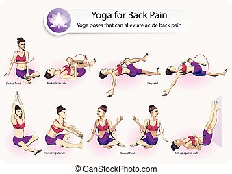 Yoga For Back Pain - Tutorial of a set of female figures...