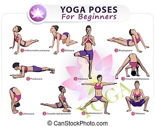 yoga for beginners poses stick figure set vector set of