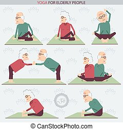 Yoga for Elderly people.Vector illustration