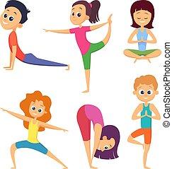 Yoga for kids. Happy childrens make different exercises. ...