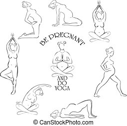 Yoga for pregnant vector set.