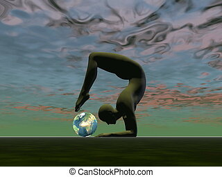 Yoga for the earth - 3D render - Man practicing yoga in...