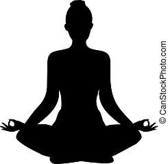 yoga., forma, vettore, posizione loto, silhouette.