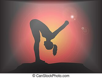 Yoga Forward Bend With Hands Lock Pose Glare Background