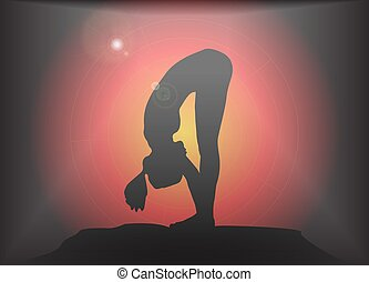 Yoga Forward Fold Pose Glare Background