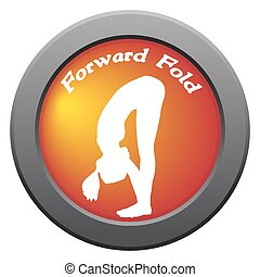 Yoga Forward Fold Pose Red Icon