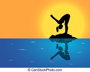 Yoga Forward Fold Pose Sea Background