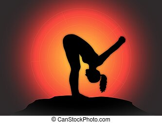 Yoga Forward Fold Pose Sun Background