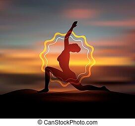 yoga framställ, silhuett