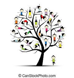 yoga, fremgangsmåde, træ, begreb, by, din, konstruktion