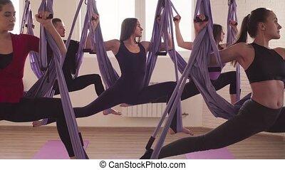 yoga, gens, gymnase, asanas, groupe, aérien