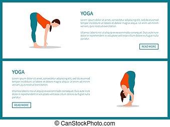 yoga, gezonde , poster, vector, opleiding, lichamelijk