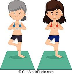 yoga, giovane, donne anziane