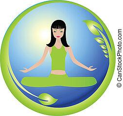Yoga girl and nature world logo vector