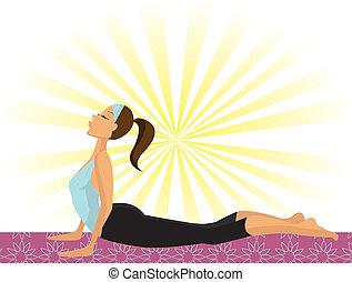 Yoga Girl (doing the Cobra Pose or Bhujangasana)