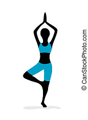 yoga girl - illustration of yoga girl on white background