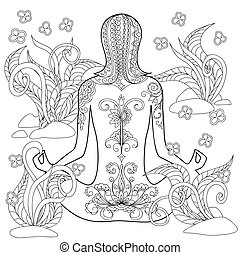 yoga girl - Hand drawn decorated tattoo girl in the tangled...