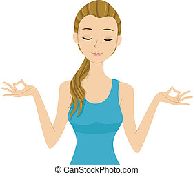 Yoga Girl - Illustration of a Girl Doing Some Yoga Exercises