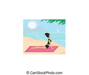 Yoga girl in dog position