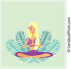 Yoga girl in lotus position - abstract card