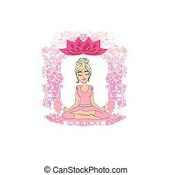 Yoga girl in lotus position - decorative card