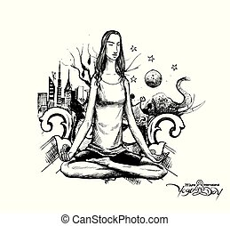 Yoga girl Looking for Inner Peace with urban city. Hand Draw Sketch Vector Illustration.