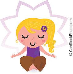 Yoga girl practicing meditation isolated on white