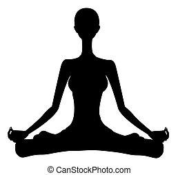 Yoga girl silhouette