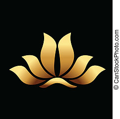 Yoga gold lotus flower logo - Vector of yoga gold lotus...